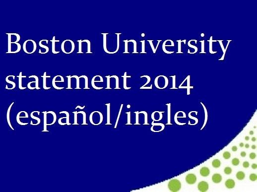 Boston University Statement 2014